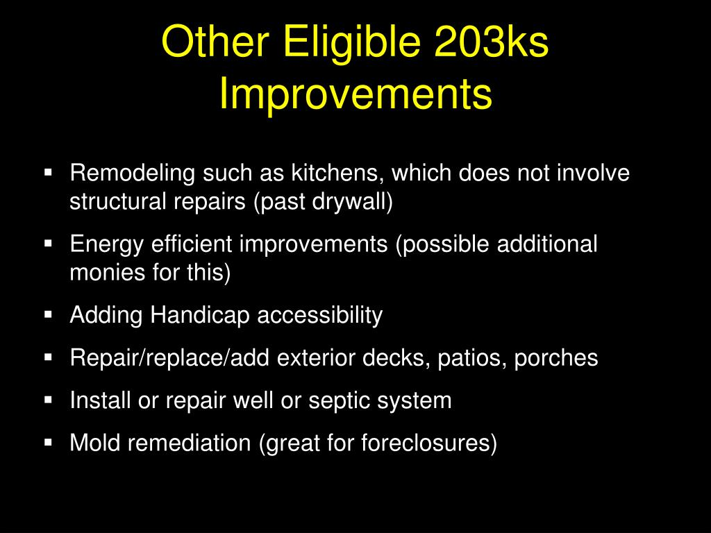 Other Eligible 203ks Improvements