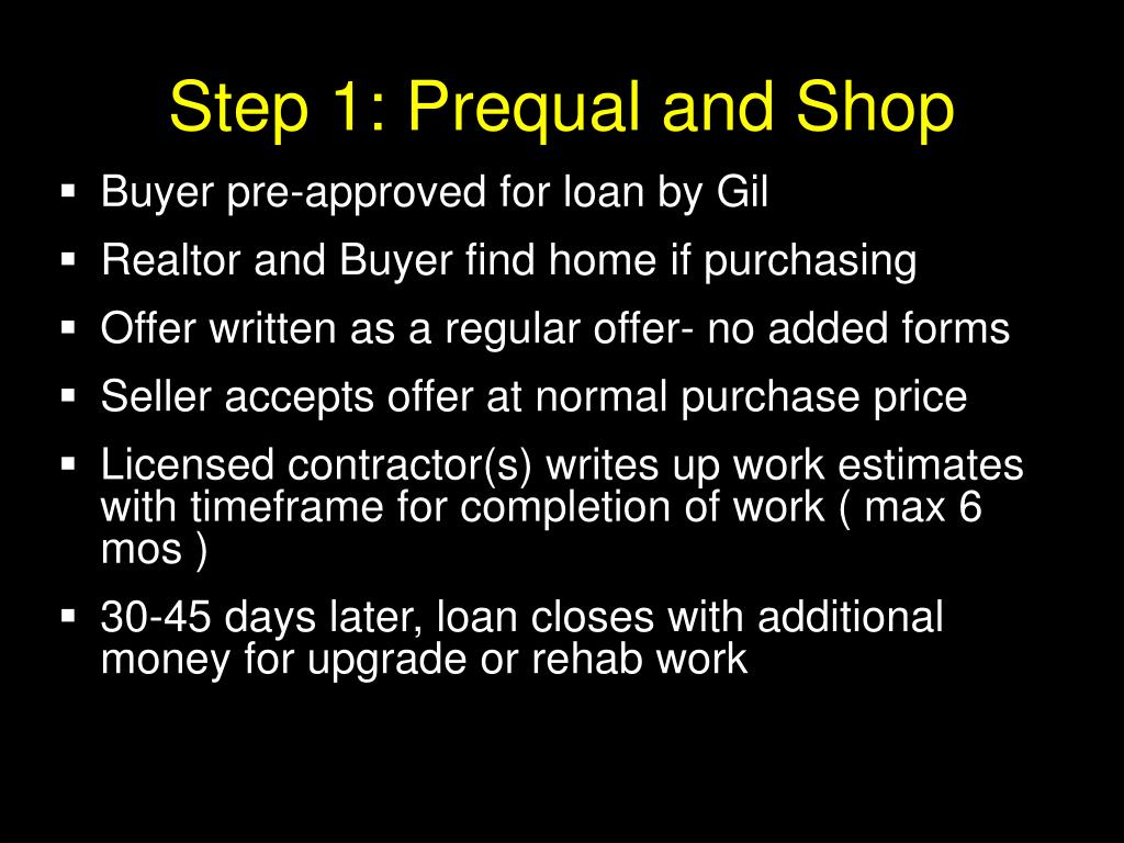 Step 1: Prequal and Shop