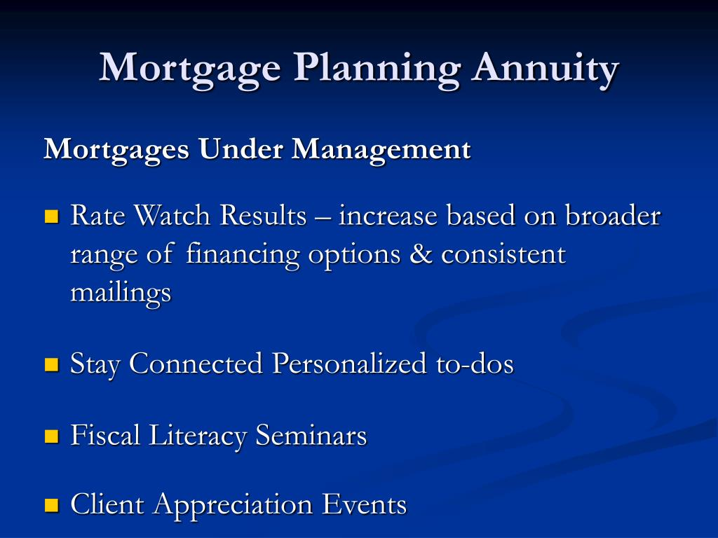 Mortgage Planning Annuity