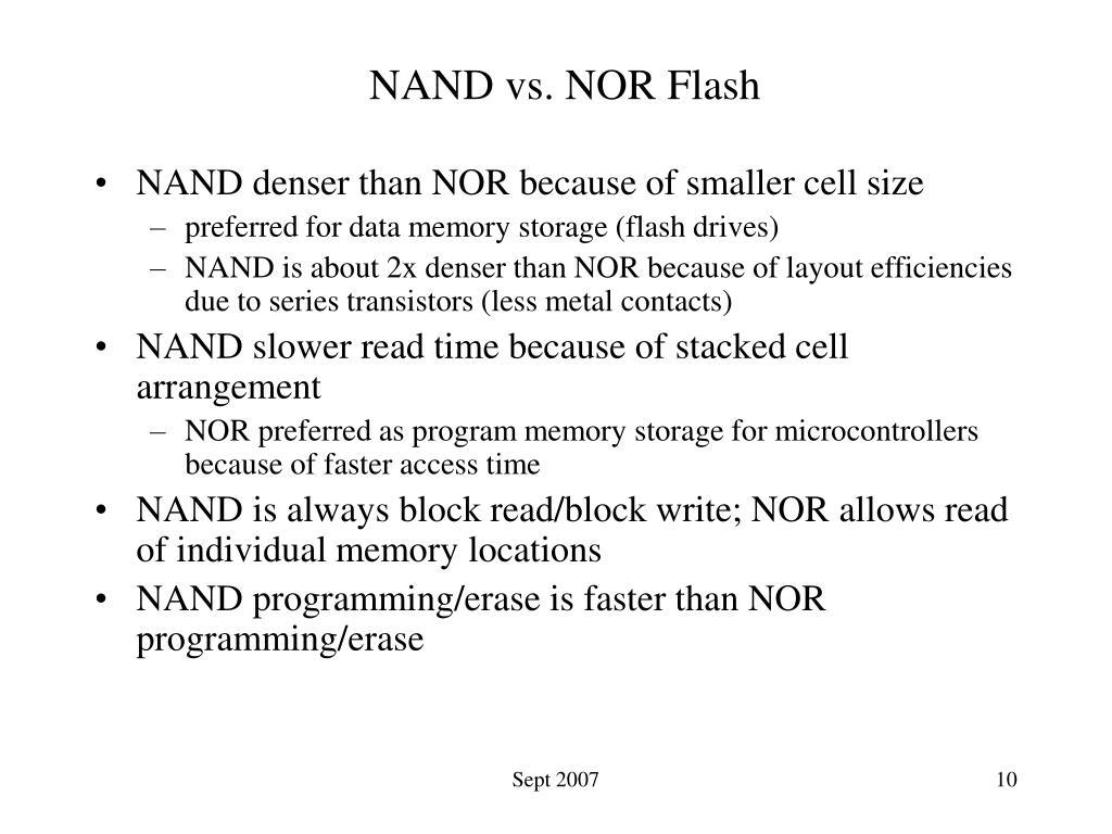 NAND vs. NOR Flash