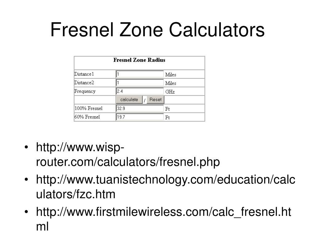 Fresnel Zone Calculators
