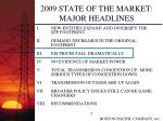 2009 state of the market major headlines8