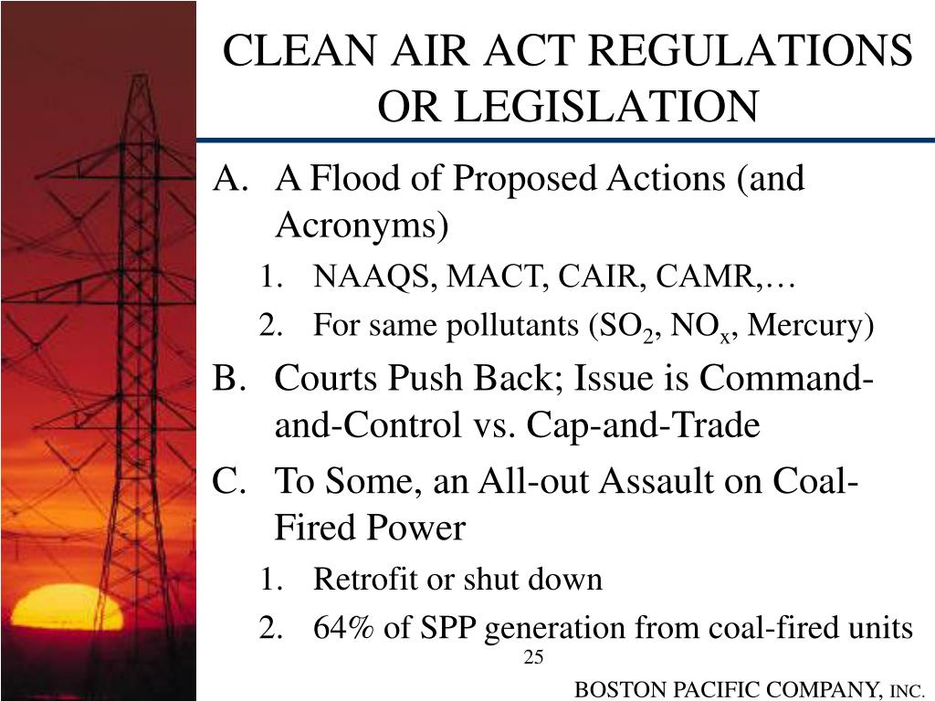 CLEAN AIR ACT REGULATIONS OR LEGISLATION