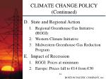 climate change policy continued