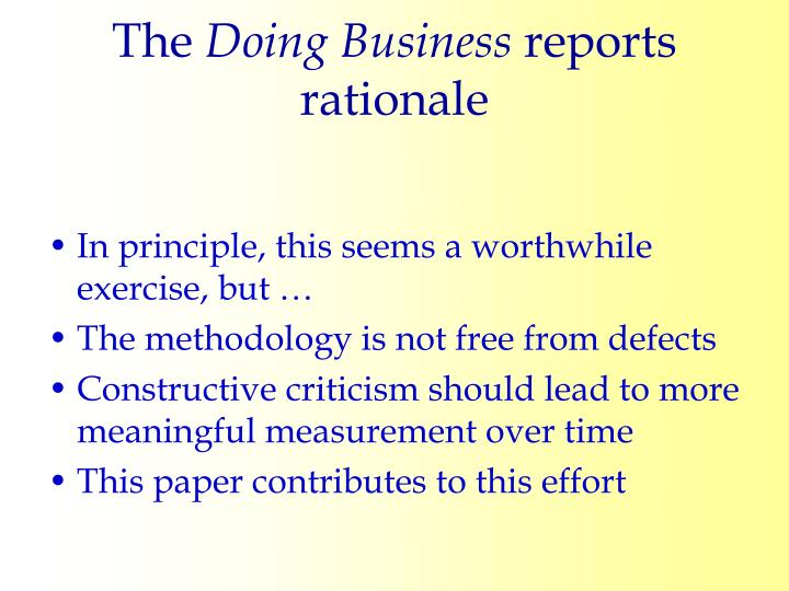 The doing business reports rationale3