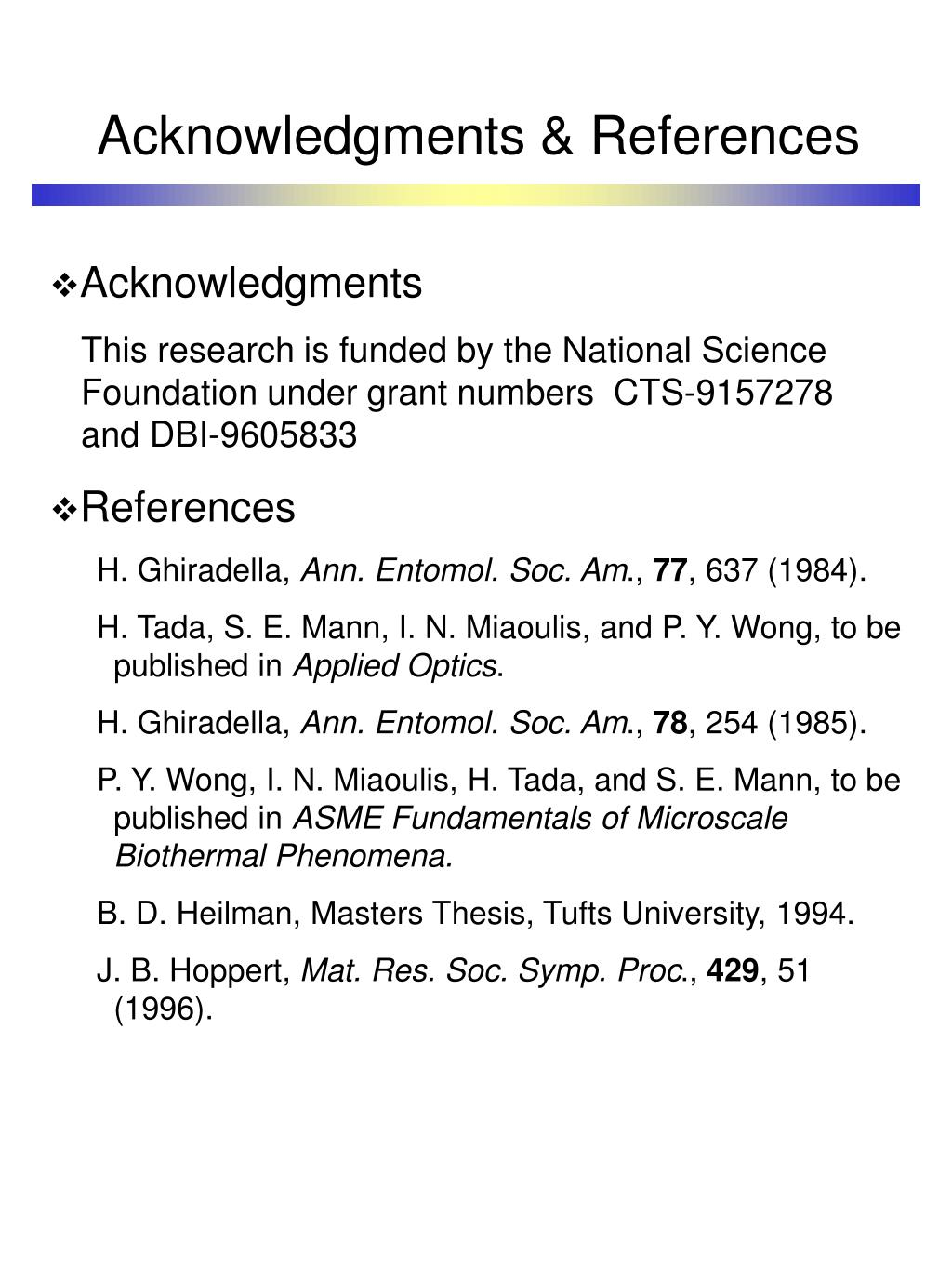 Acknowledgments & References
