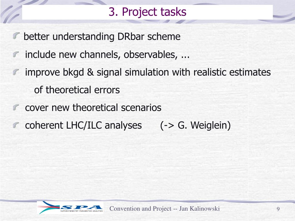 3. Project tasks