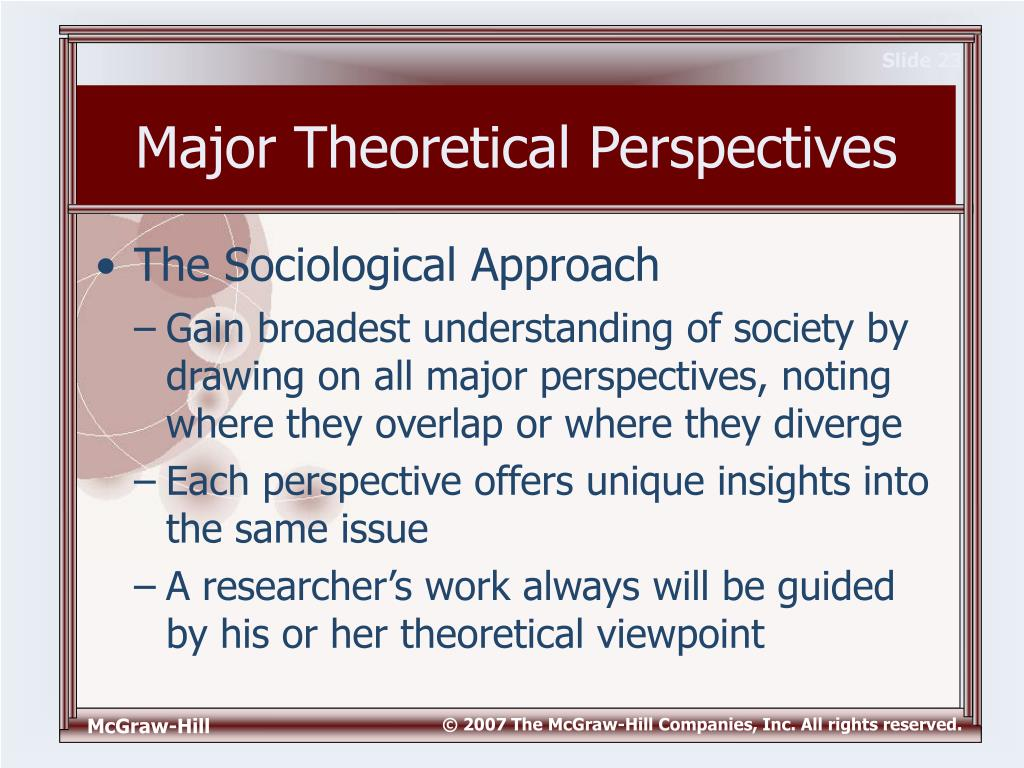 "theoretical perspectives on the family Family is ""one of the most important aspects of what happens to us over the life course"" (vissing, 2011) however, historically, the three major theoretical perspectives, functionalism, conflict, and interactionism, are most commonly considered and used by sociologists (vissing, 2011."