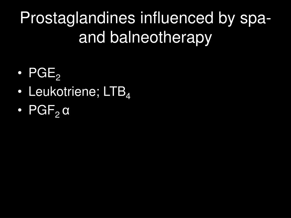 Prostaglandines influenced by spa-and balneotherapy