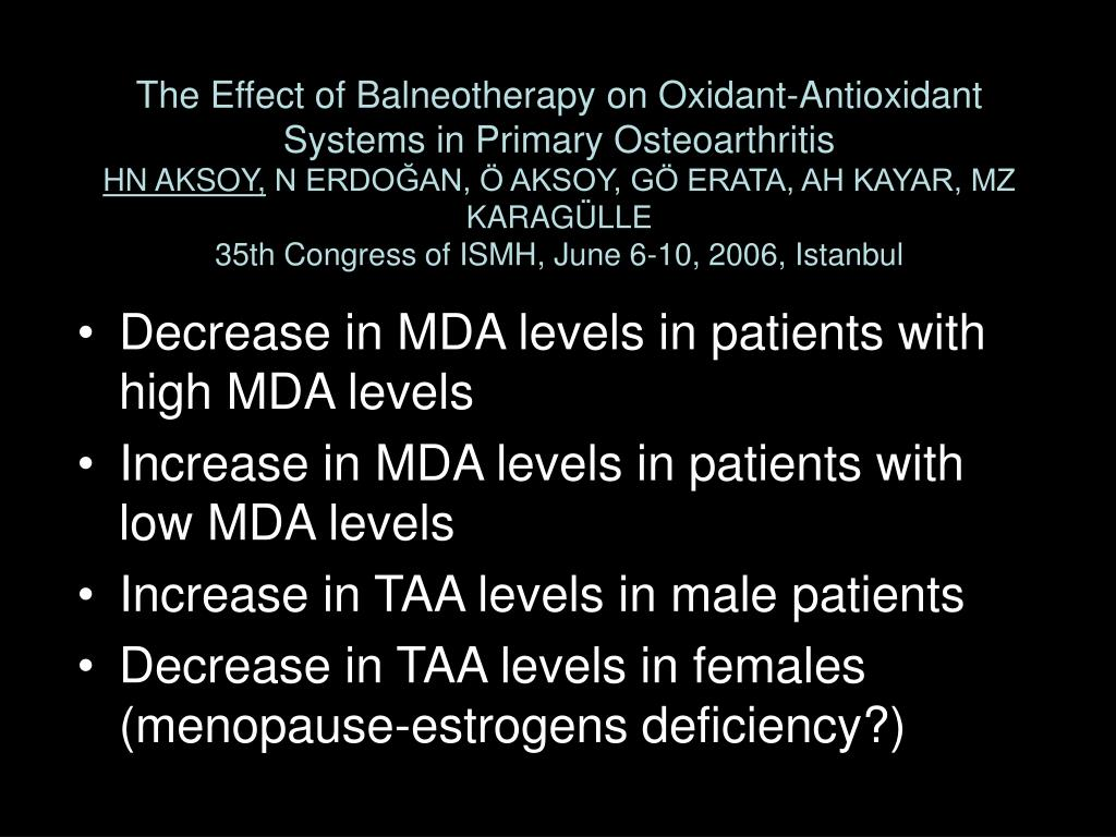 The Effect of Balneotherapy on Oxidant-Antioxidant Systems in Primary Osteoarthritis