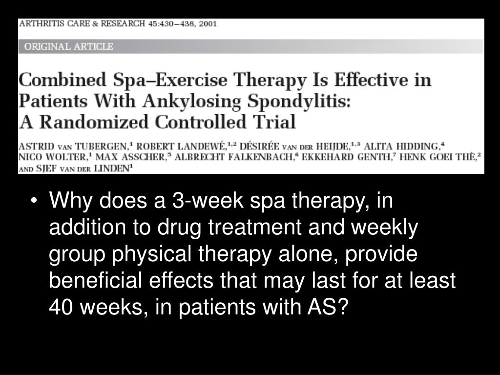 Why does a 3-week spa therapy, in addition to drug treatment and