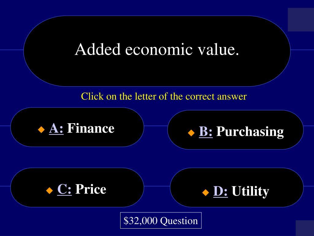 Added economic value.