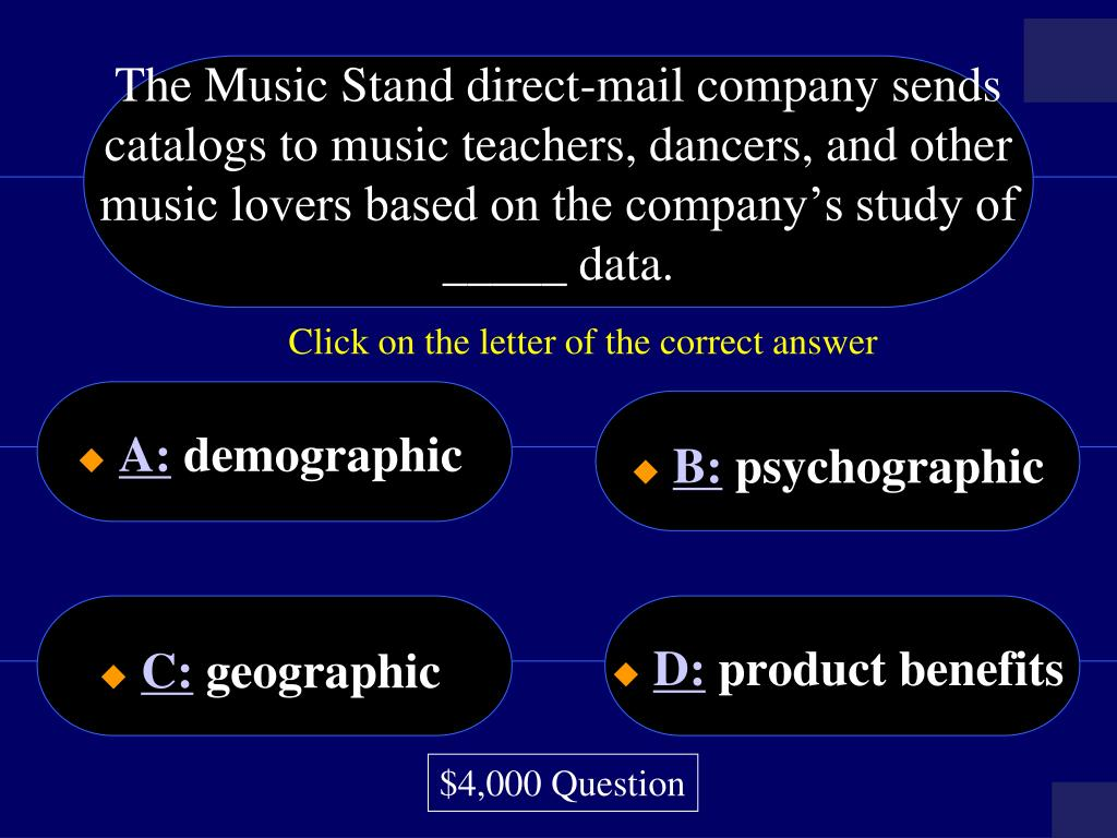 The Music Stand direct-mail company sends catalogs to music teachers, dancers, and other music lovers based on the company's study of _____ data.