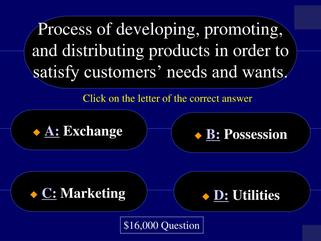 Process of developing, promoting, and distributing products in order to satisfy customers' needs and wants.