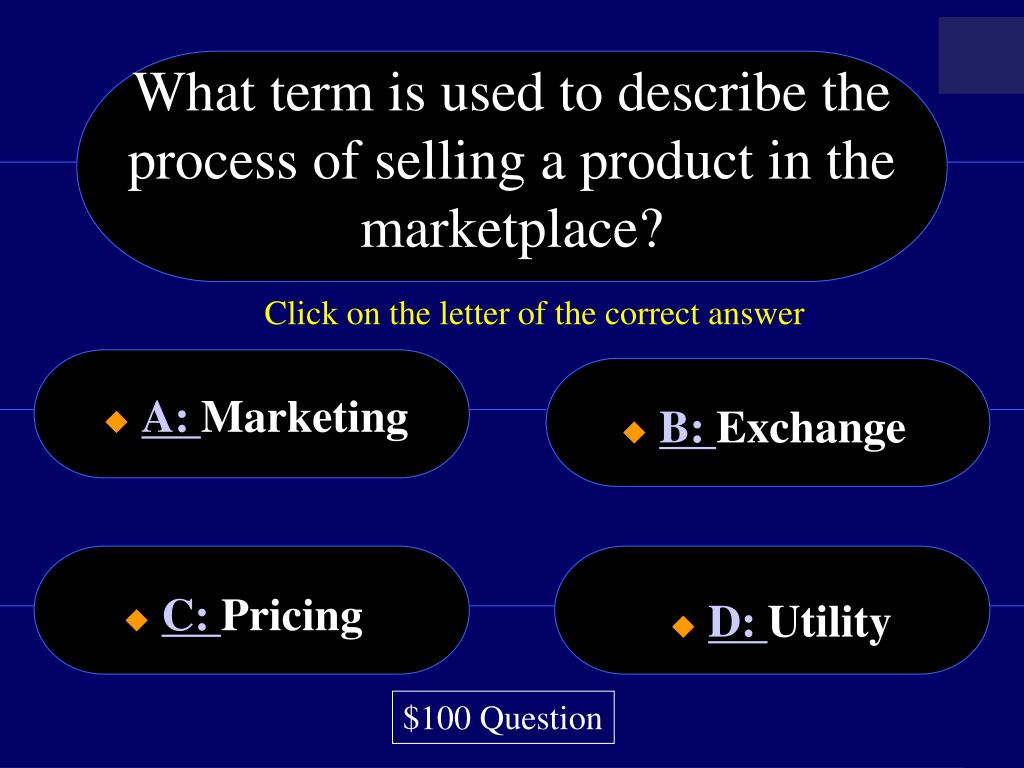 What term is used to describe the process of selling a product in the marketplace?