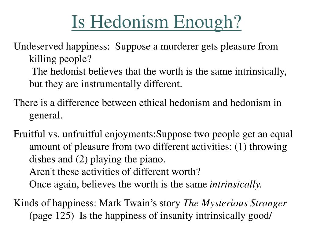 Is Hedonism Enough?