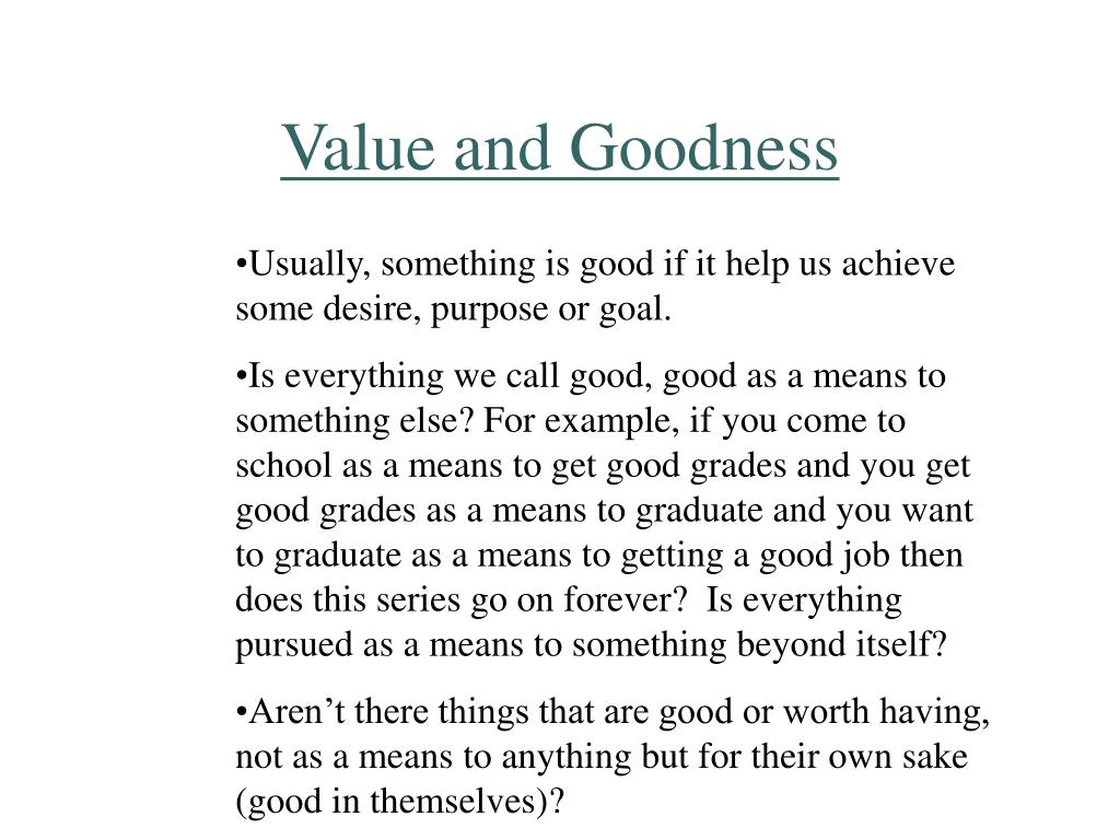 Value and Goodness