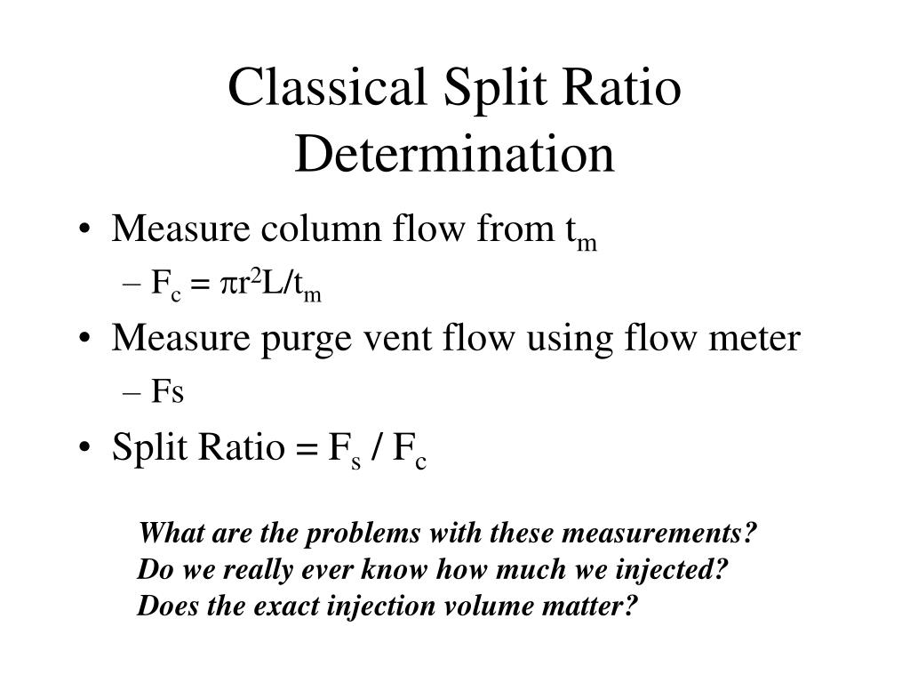 Classical Split Ratio Determination