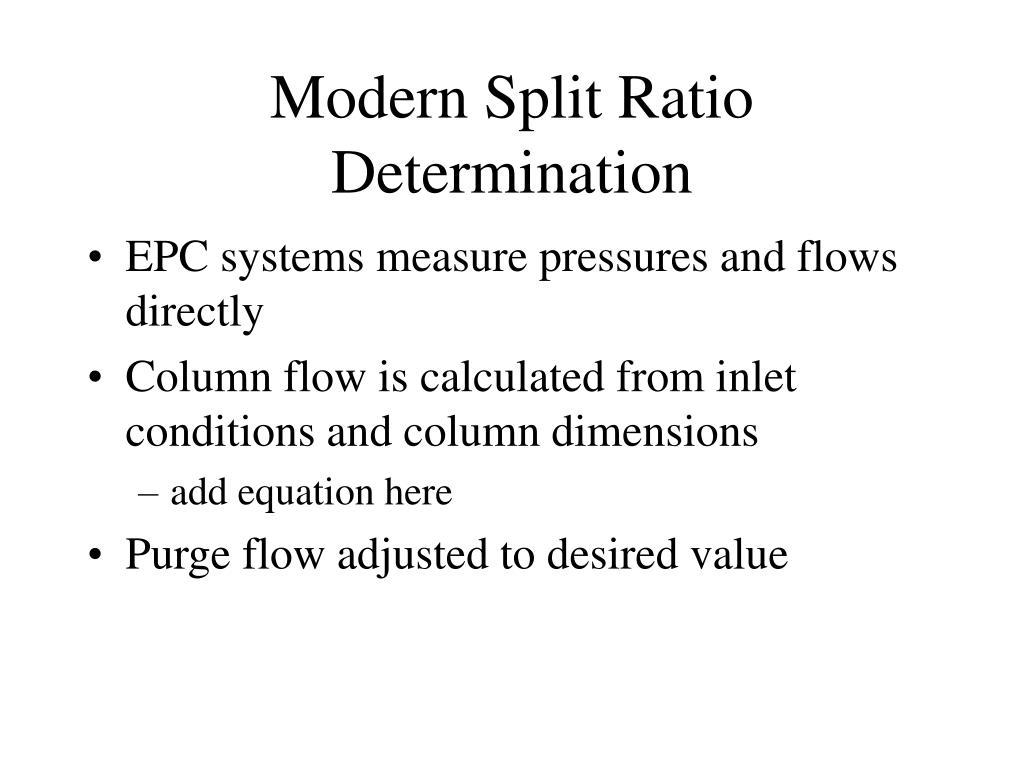 Modern Split Ratio Determination