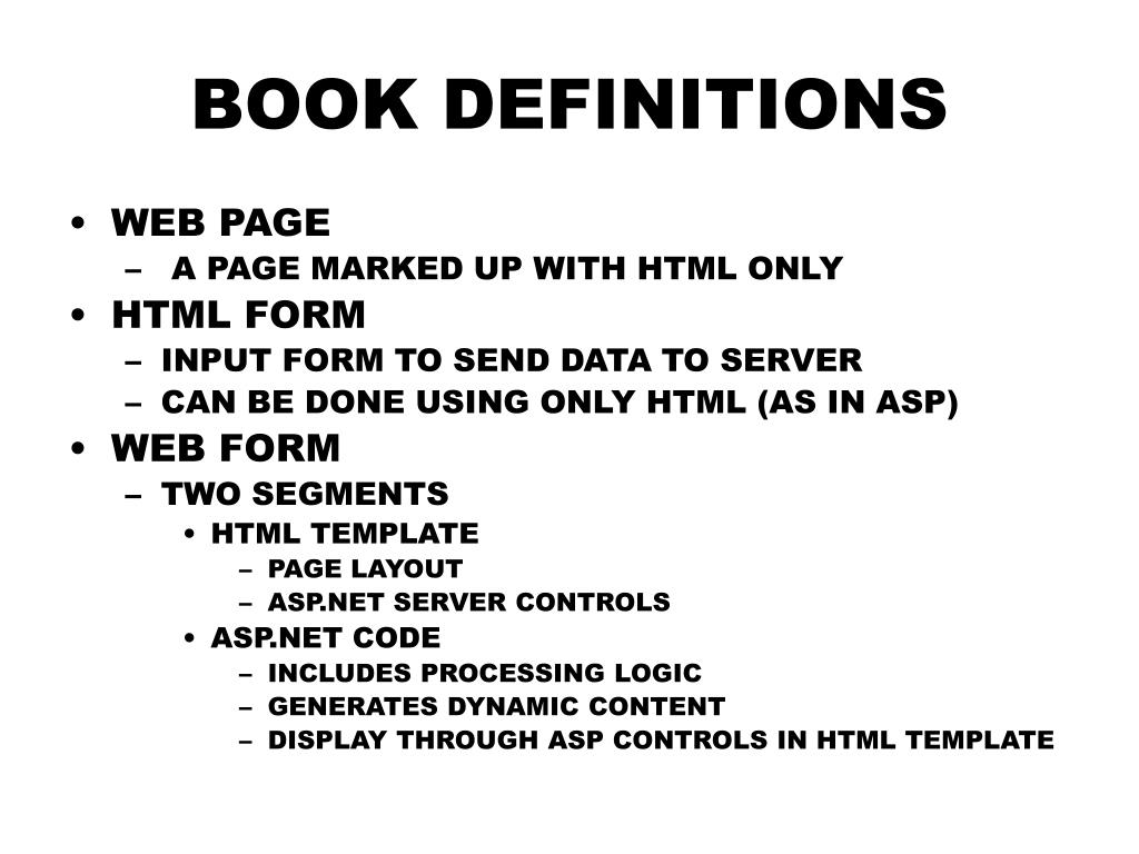 BOOK DEFINITIONS