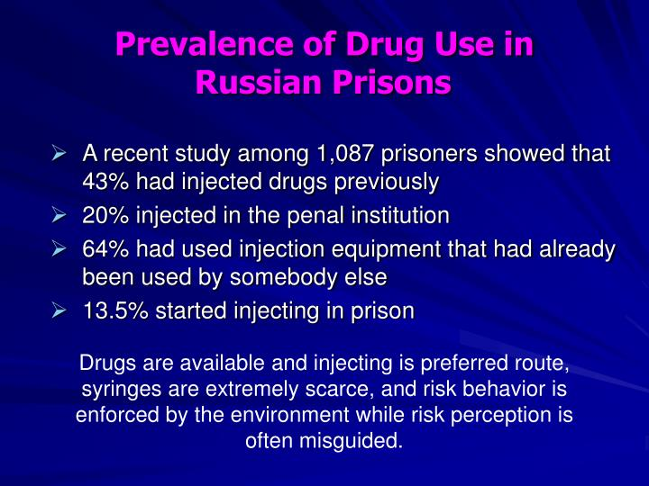 Prevalence of Drug Use in Russian Prisons