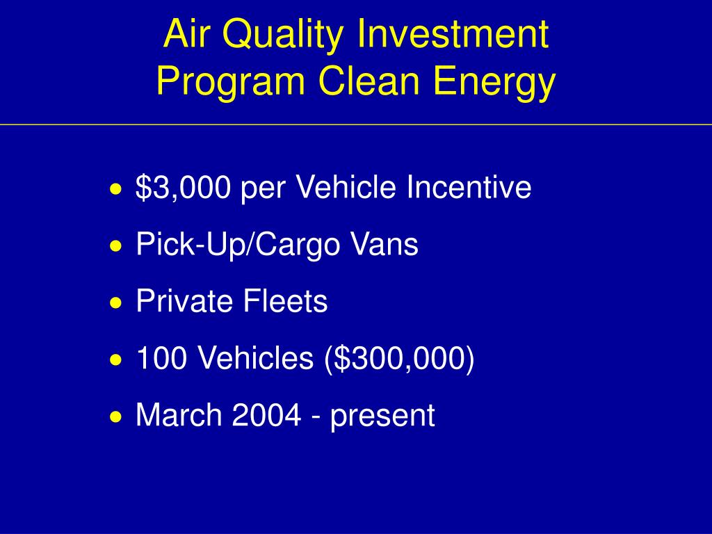 Air Quality Investment Program Clean Energy