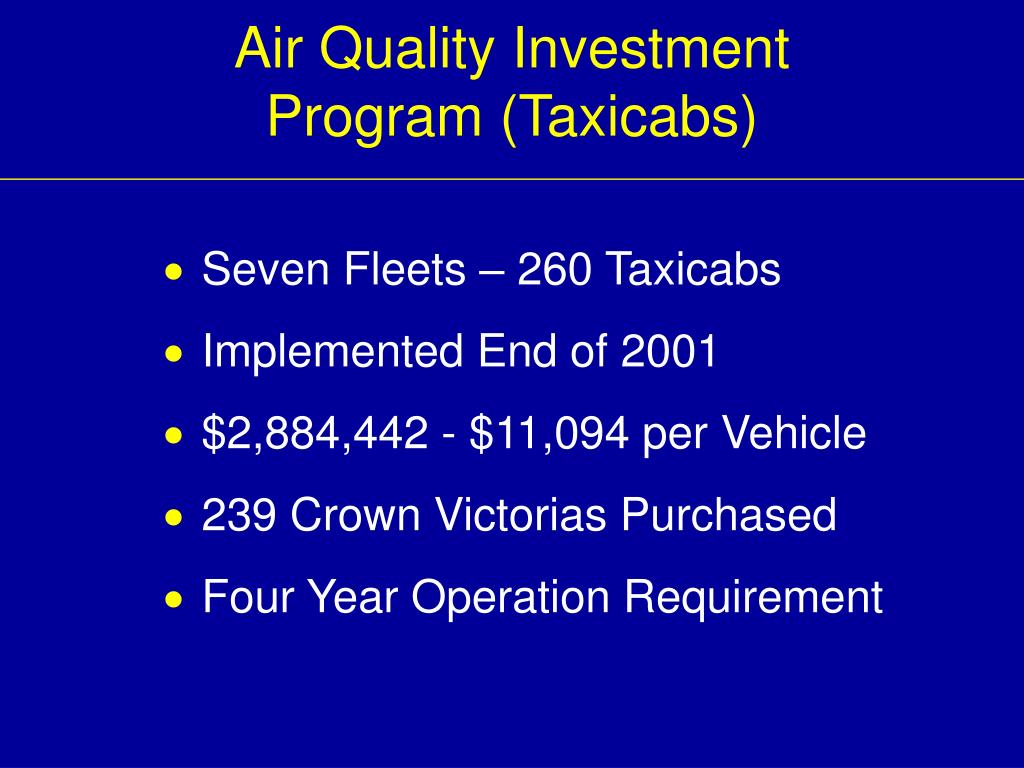 Air Quality Investment Program (Taxicabs)