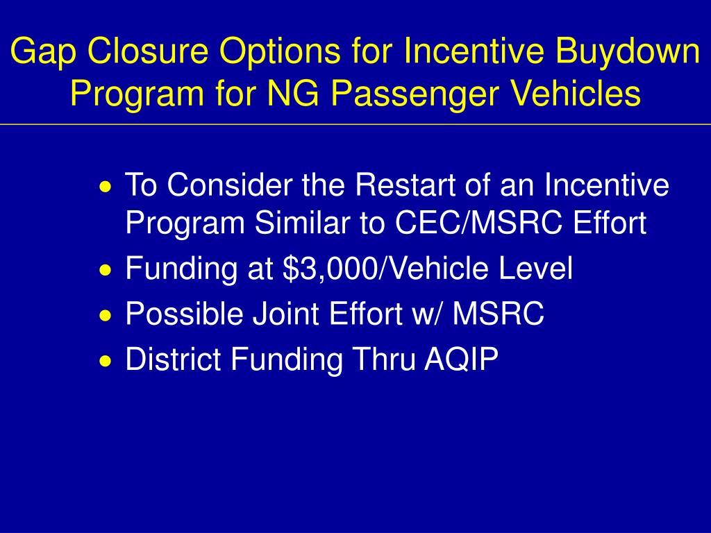 Gap Closure Options for Incentive Buydown Program for NG Passenger Vehicles