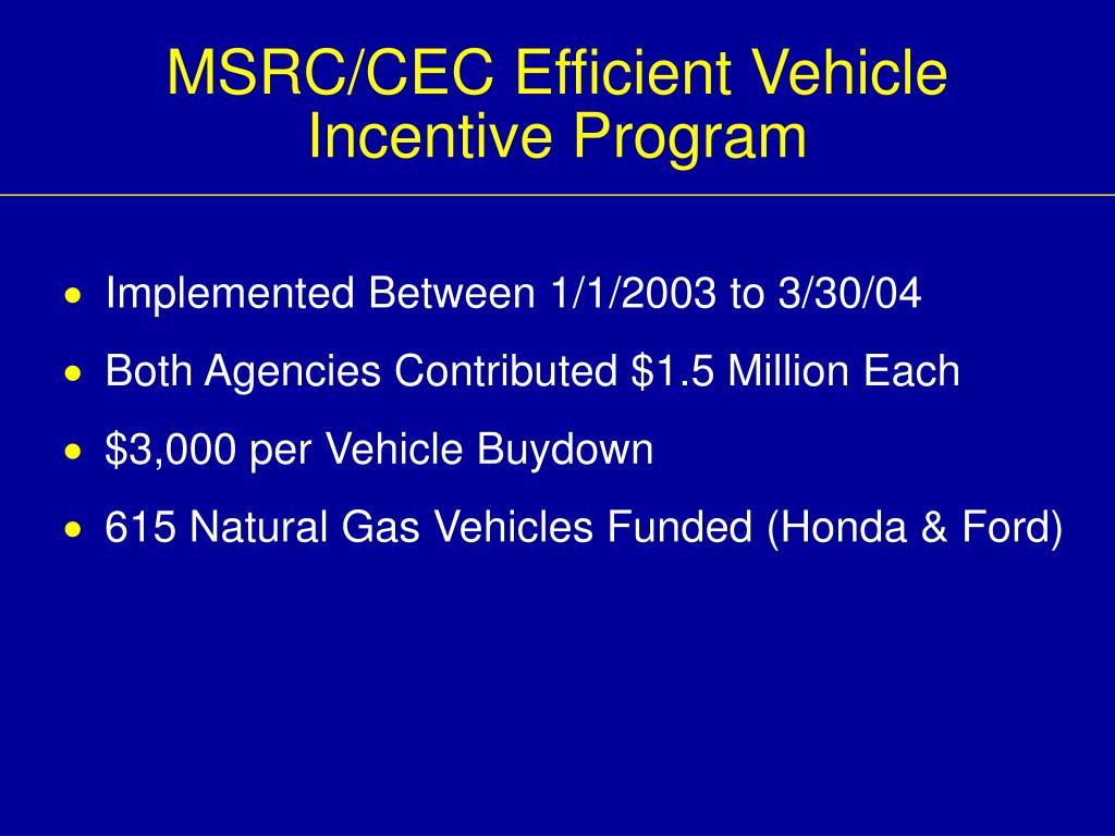 MSRC/CEC Efficient Vehicle
