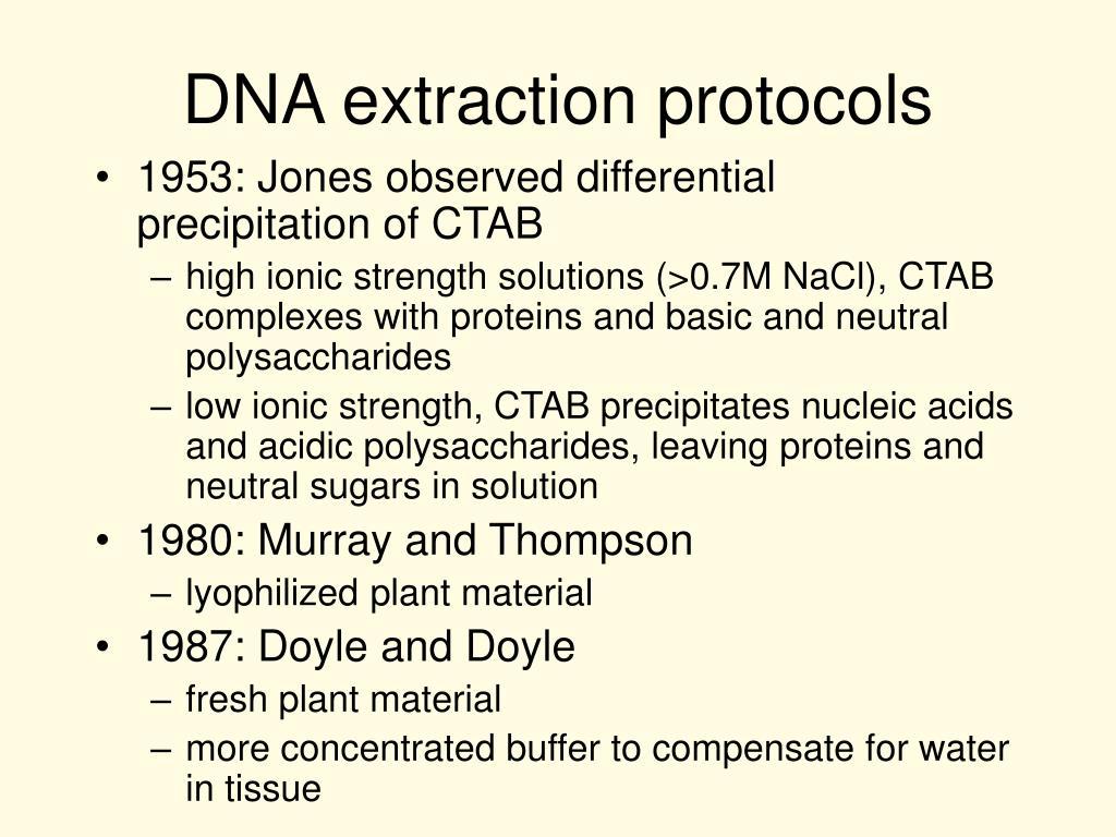 DNA extraction protocols