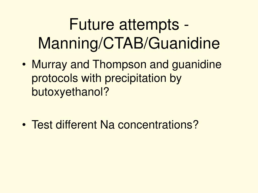 Future attempts - Manning/CTAB/Guanidine