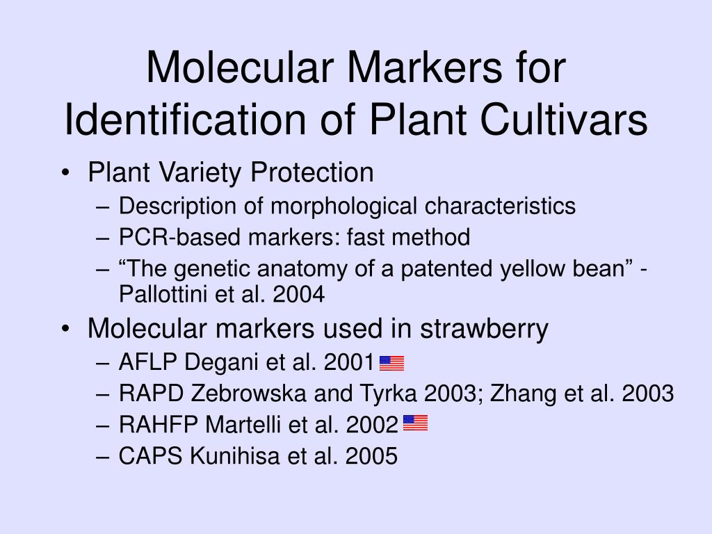 Molecular Markers for Identification of Plant Cultivars