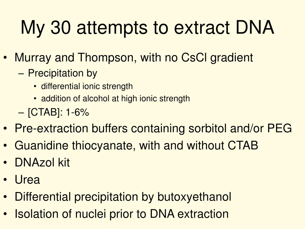 My 30 attempts to extract DNA