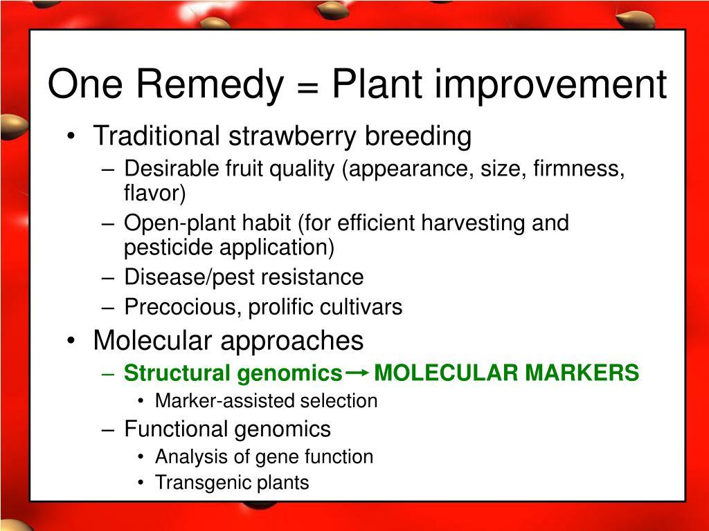 One Remedy = Plant improvement