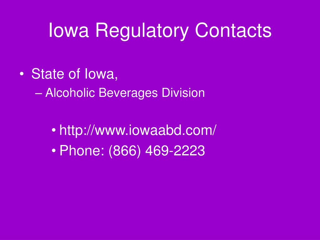 Iowa Regulatory Contacts
