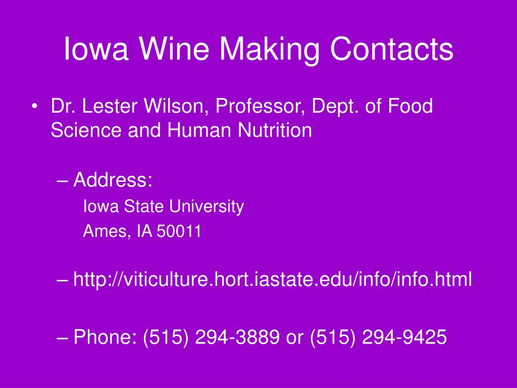 Iowa Wine Making Contacts