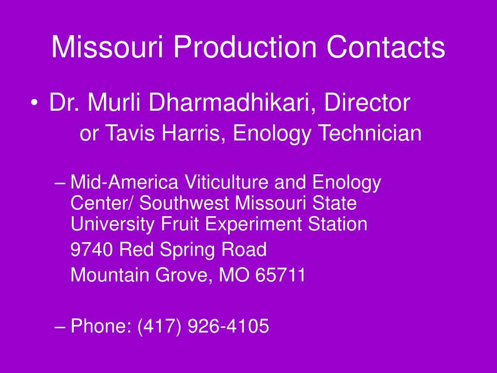 Missouri Production Contacts
