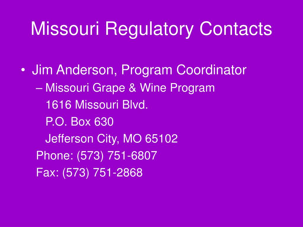 Missouri Regulatory Contacts