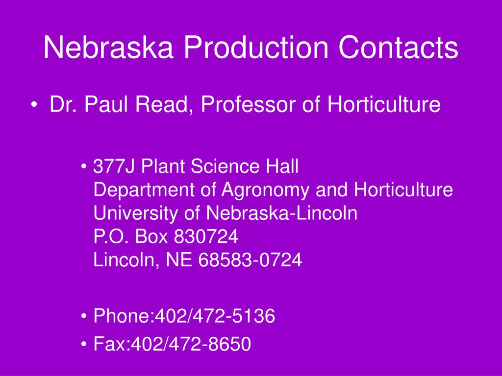 Nebraska Production Contacts