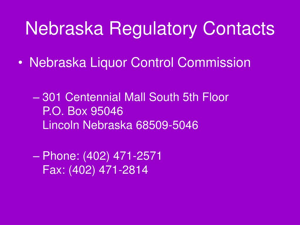 Nebraska Regulatory Contacts
