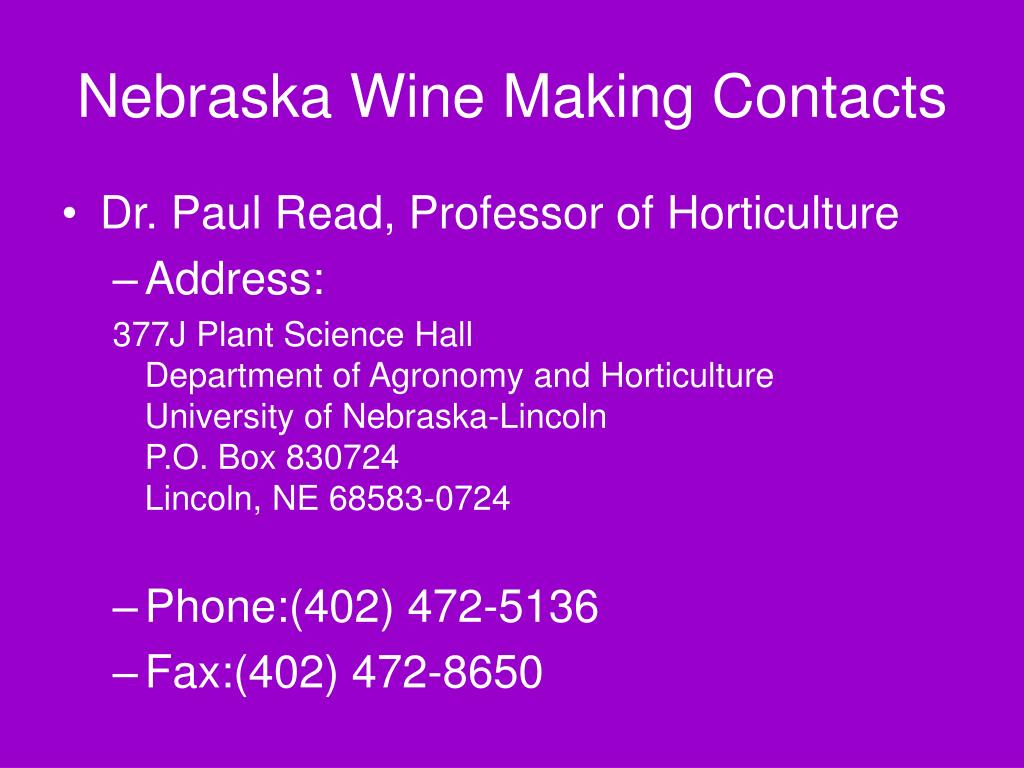 Nebraska Wine Making Contacts