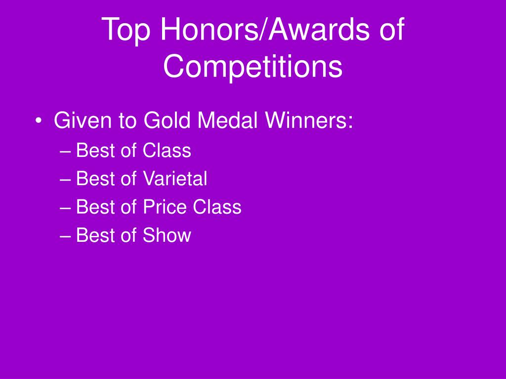 Top Honors/Awards of Competitions