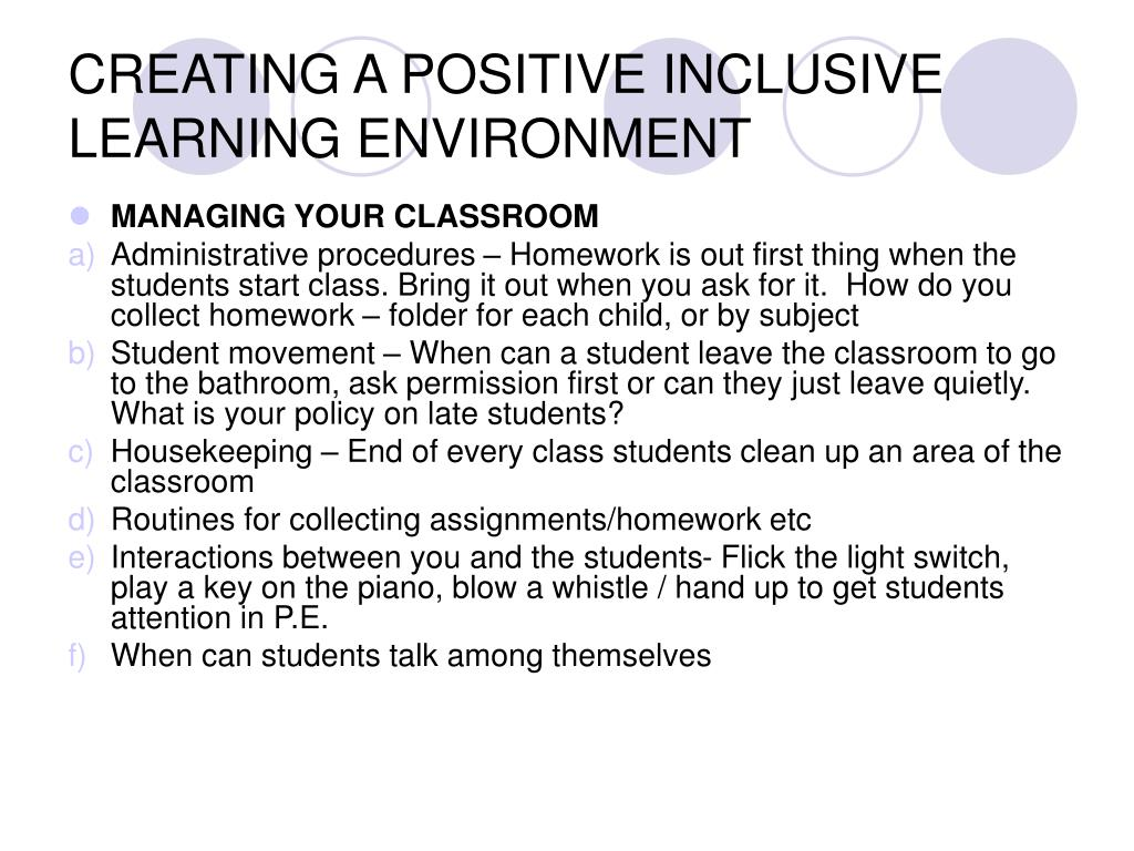 CREATING A POSITIVE INCLUSIVE LEARNING ENVIRONMENT