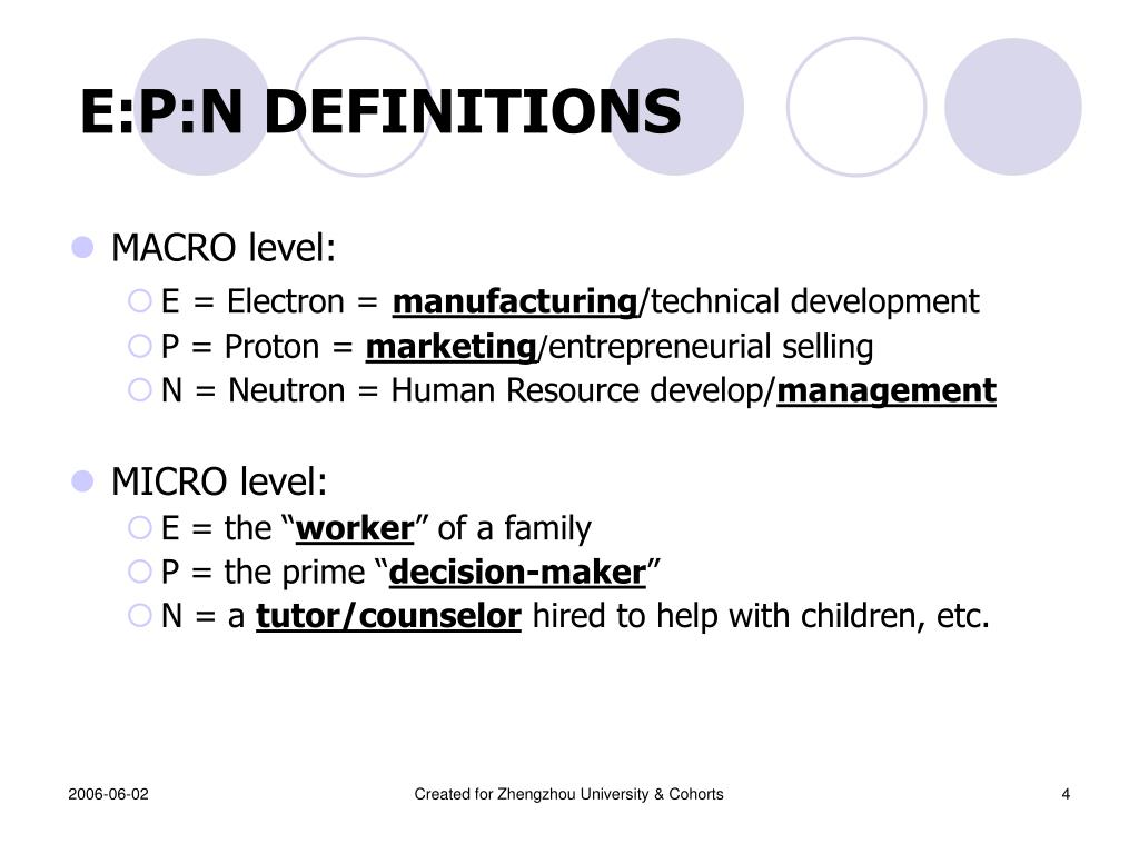 E:P:N DEFINITIONS