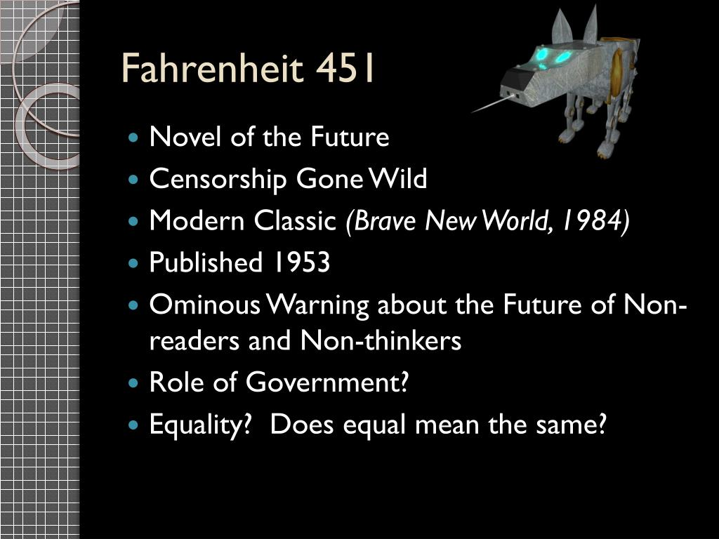 fahrenheit 451 and brave new world essay Fahrenheit 451 and brave new world essays: over 180,000 fahrenheit 451 and brave new world essays, fahrenheit 451 and brave new world term papers, fahrenheit 451 and brave new world research.