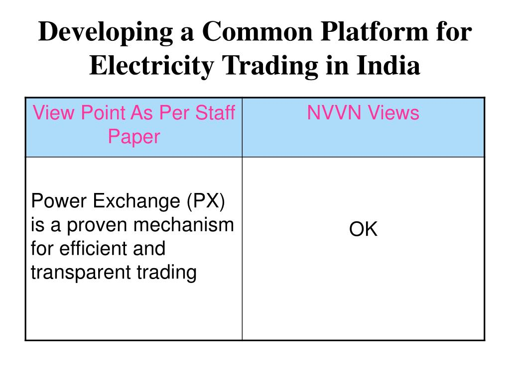 Developing a Common Platform for Electricity Trading in India