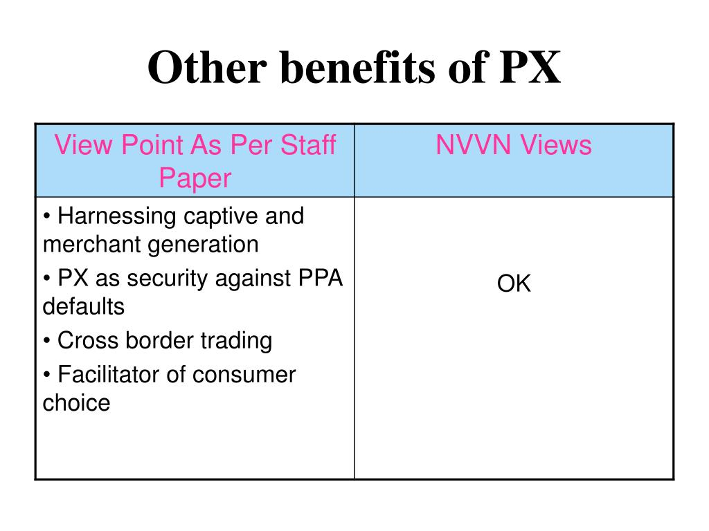Other benefits of PX