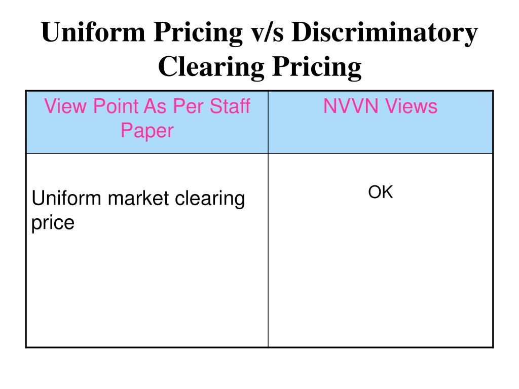 Uniform Pricing v/s Discriminatory Clearing Pricing