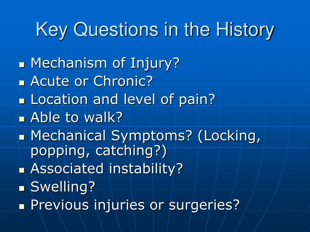 Key Questions in the History