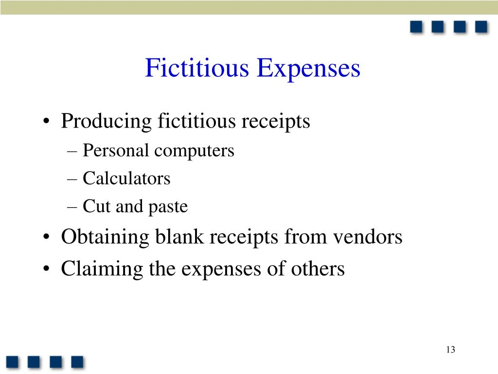 Fictitious Expenses